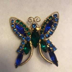 Jewelry - Blue Green Rhinestone Butterfly Brooch / Pin